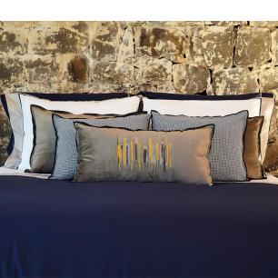 Almofada Urban Blue Veludo Fendi Bordada 35x70 Muguet Home