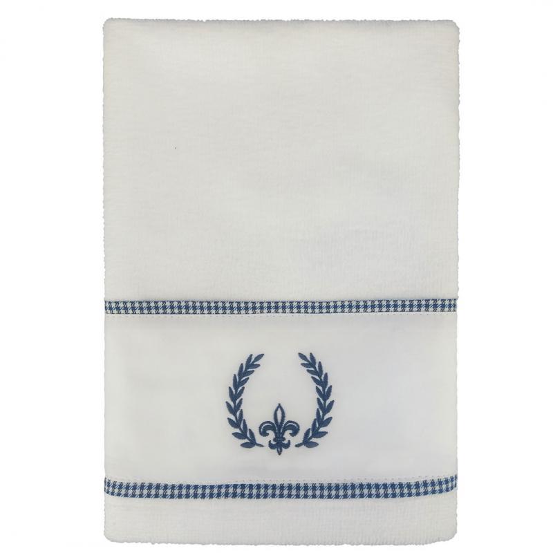 Toalha de Lavabo Urban Blue Bordada Flor de Lis Muguet Home