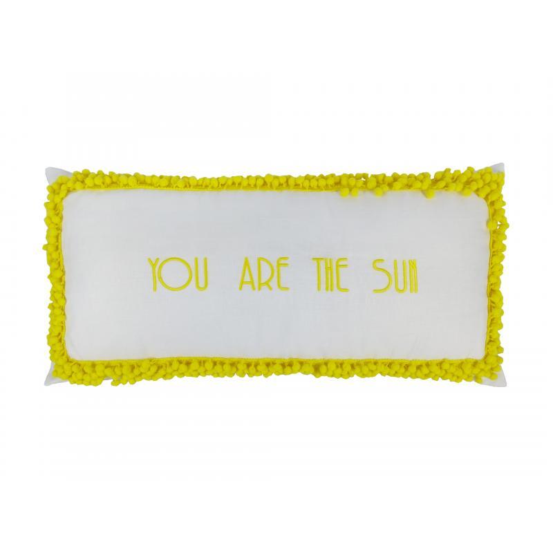 Almofada Il Sole 35x70 Linho Pompons Amarelos  Muguet Home