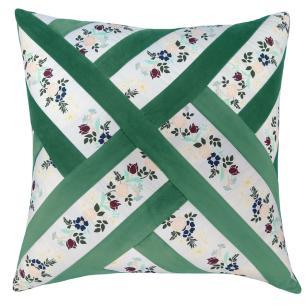 Almofada Grega Floral e Veludo Verde 50x50 Muguet Home