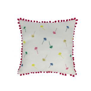 Almofada Il Sole Linho com Pompons Pink 50x50 Muguet Home