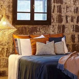 Almofada Color Connection Veludo Azul Nervuras 50x50 Muguet Home