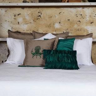 Almofada Cardo Veludo Verde Nervuras  50x50 Muguet Home