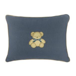 Mini Almofada Para Ninho Redutor Azul Bordado Urso  Muguet Home