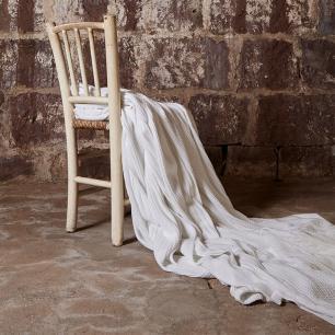 Manta Tricô Branca Trança 2,20x2,50 Muguet Home