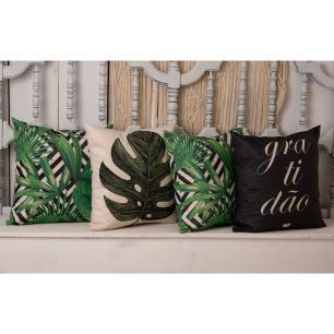 Kit com 4 Almofadas Decorativas 45x45 - Folhas