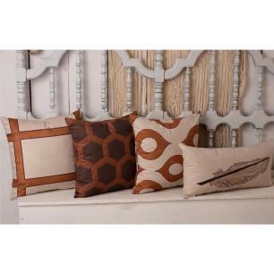 Kit com 4 Almofadas Decorativas 45x45 - Marrom