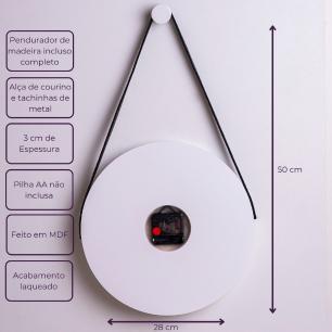 Relógio de Parede Decorativo com alça - Branco com Preto