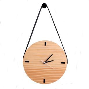 Relógio de Parede com alça em Madeira - Pinus com Preto