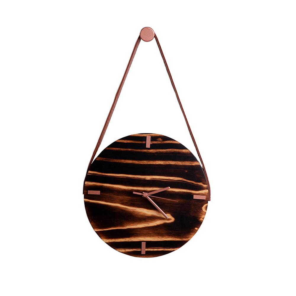 Relógio de Parede em madeira Pinus com Rosê - Shou sugi ban