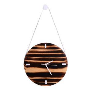 Relógio de Parede em madeira Pinus com Branco -Shou sugi ban