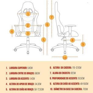 Cadeira Gamer Reclinável Escritório Branca - MoobX Thunder