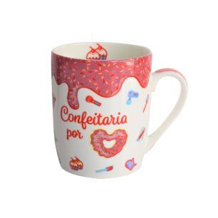Caneca porcelana Confeitaria 410mls na Caixinha Individual