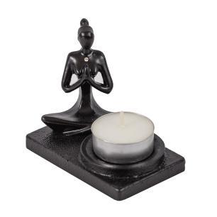 Incensário e Porta Vela Yoga Oração Preto