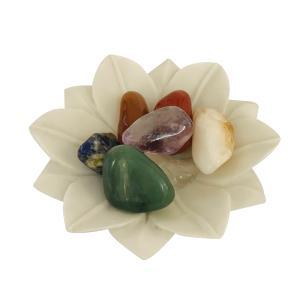 Incensário e Suporte para pedras Flor de Lótus em Marmorite