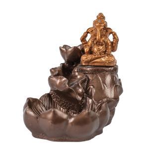 Incensário Cascata Ganesha Bronze e Dourado