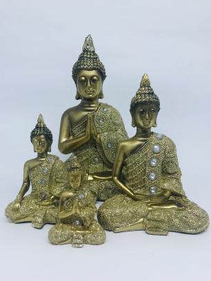 Buda Dourado Bhumisparsha (tocar a terra) em Resina P