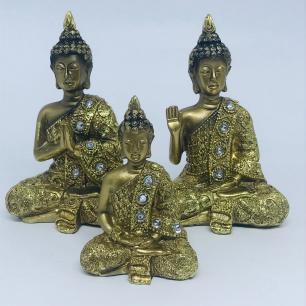 Buda Ouro Mudra em Resina P