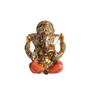 Ganesha Mini em Resina Coral