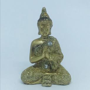 Buda Dourado Oração em Resina PP