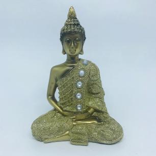 Buda Dourado Meditação em Resina M