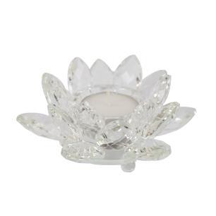 Castiçal Flor de Lótus de Cristal