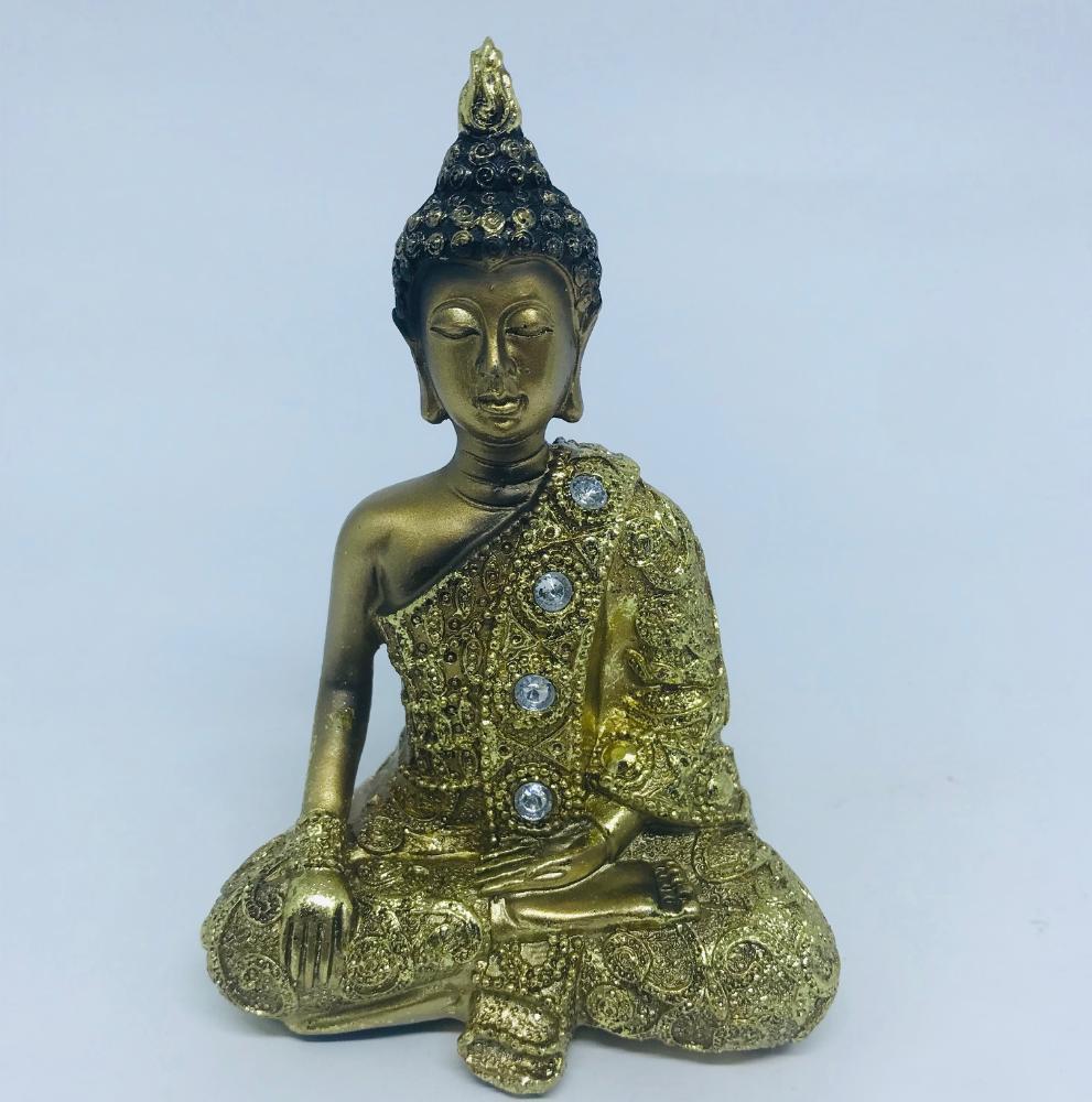 Buda Ouro Bhumisparsha (tocar a terra) em Resina P
