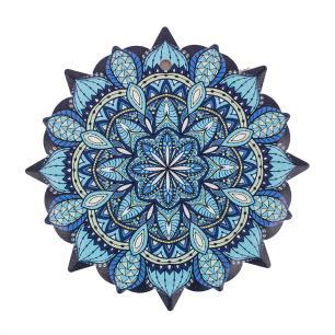 Mandala em Cerâmica Pequena Azul