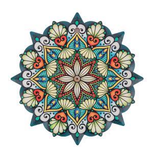 Mandala em Cerâmica Pequena Azul e Laranja