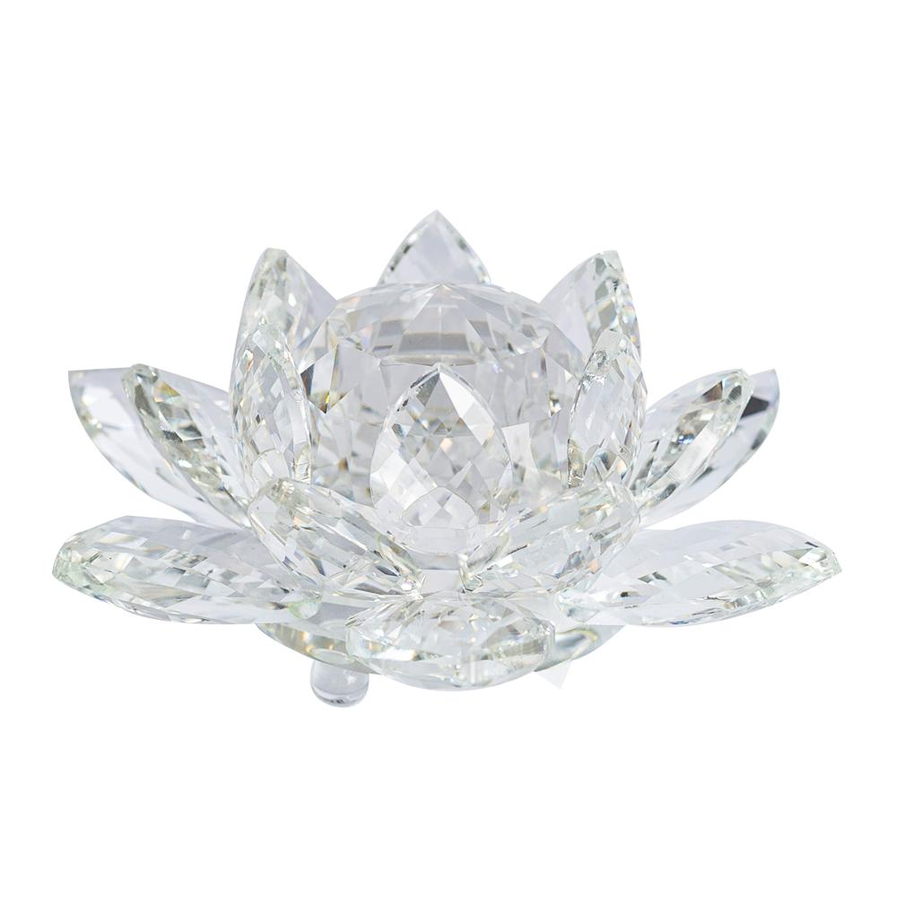 Flor de Lótus de Cristal Incolor Grande