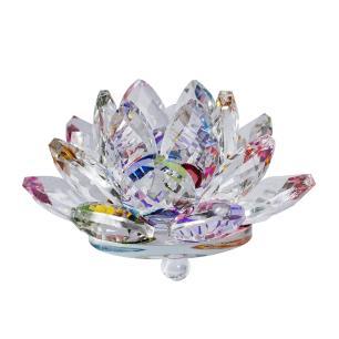 Flor de Lótus de Cristal Colorida Grande