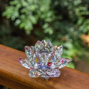 Flor de Lótus de Cristal Colorida Pequena