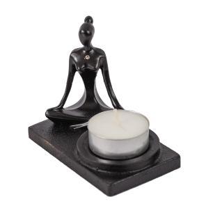 Incensário e Porta Vela Yoga Meditação Preto