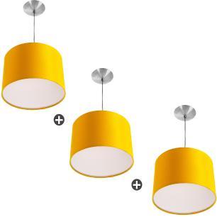 Kit 3 Lustres Cupula Pendente Dome 30x20cm Magnífico Amarelo
