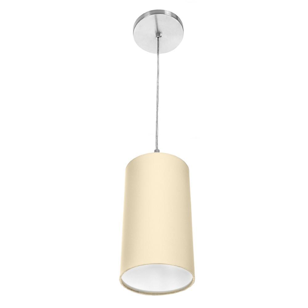 Lustre Pendente Cilindrica De Cupula 14x25cm Bege