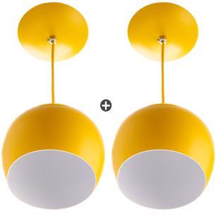 Kit 2 Lustres Pendente Bola Pequena Alumínio 15cm Amarelo