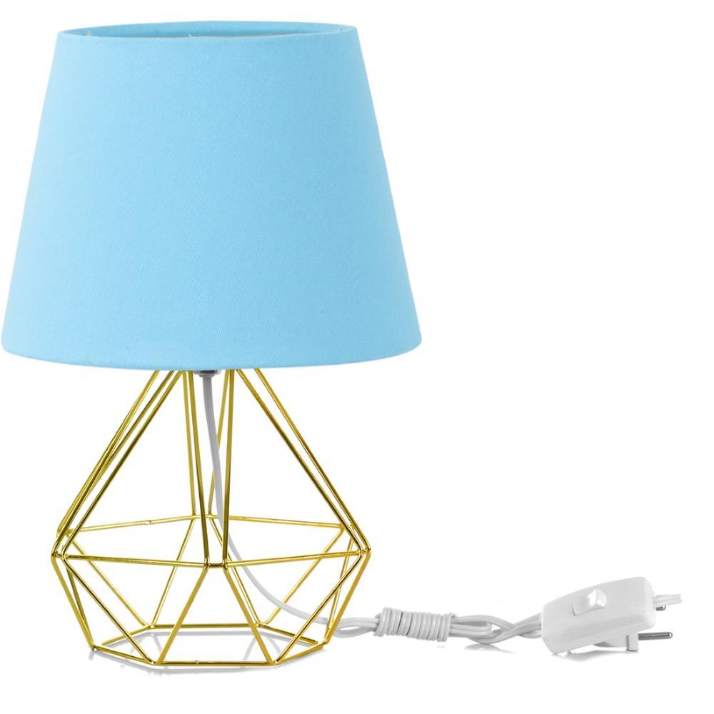 Abajur Diamante Dome Azul Bebe Com Aramado Dourado
