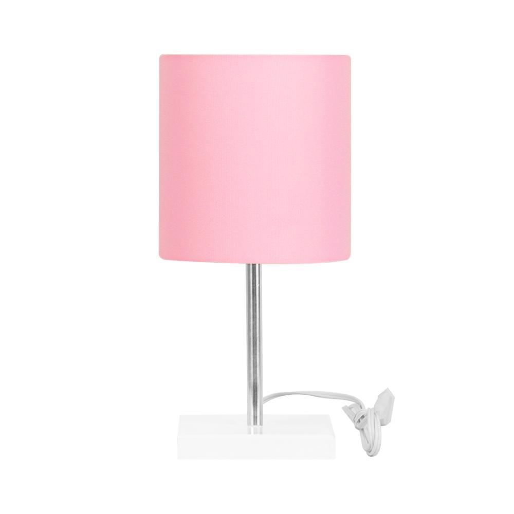 Abajur Eros Touch Cilindrico Rosa Base Branca Quadrada