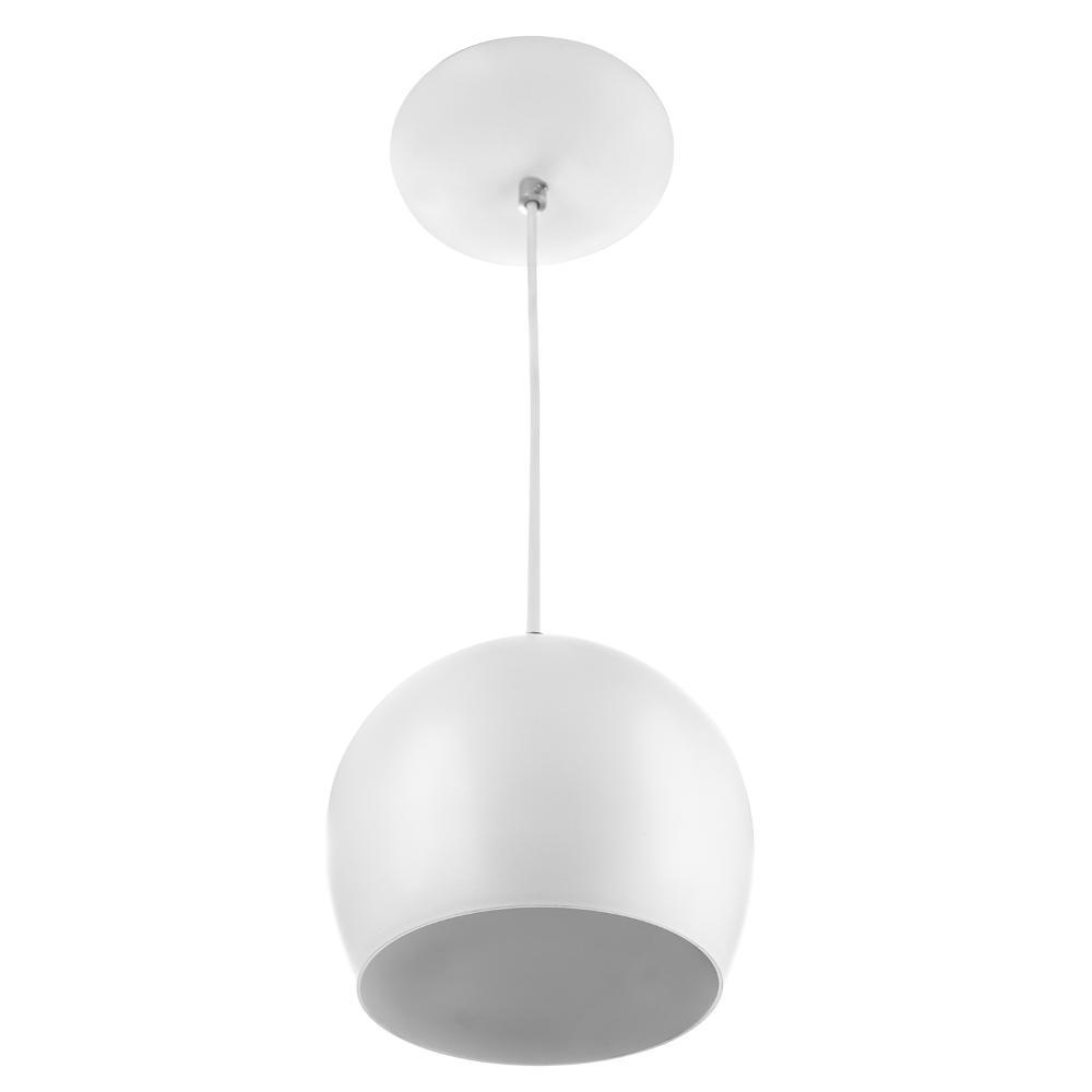 Lustre Pendente Bola Pequena De Alumínio 15cm Soquete E-27 Branco