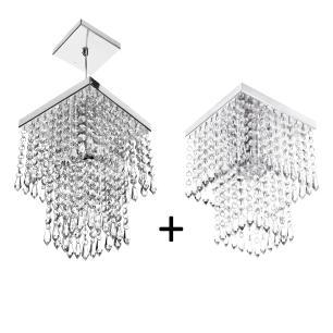 Kit 2 em 1 para Sala Pendente e Plafon de Cristal Acrilico  Marrycrilic