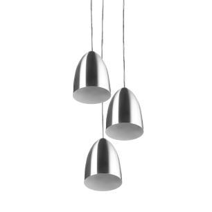Pendente Cone Bala Sadan Aluminio Triplo Escovado