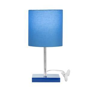 Abajur Eros Touch Cilindrico Azul Base Azul Quadrada