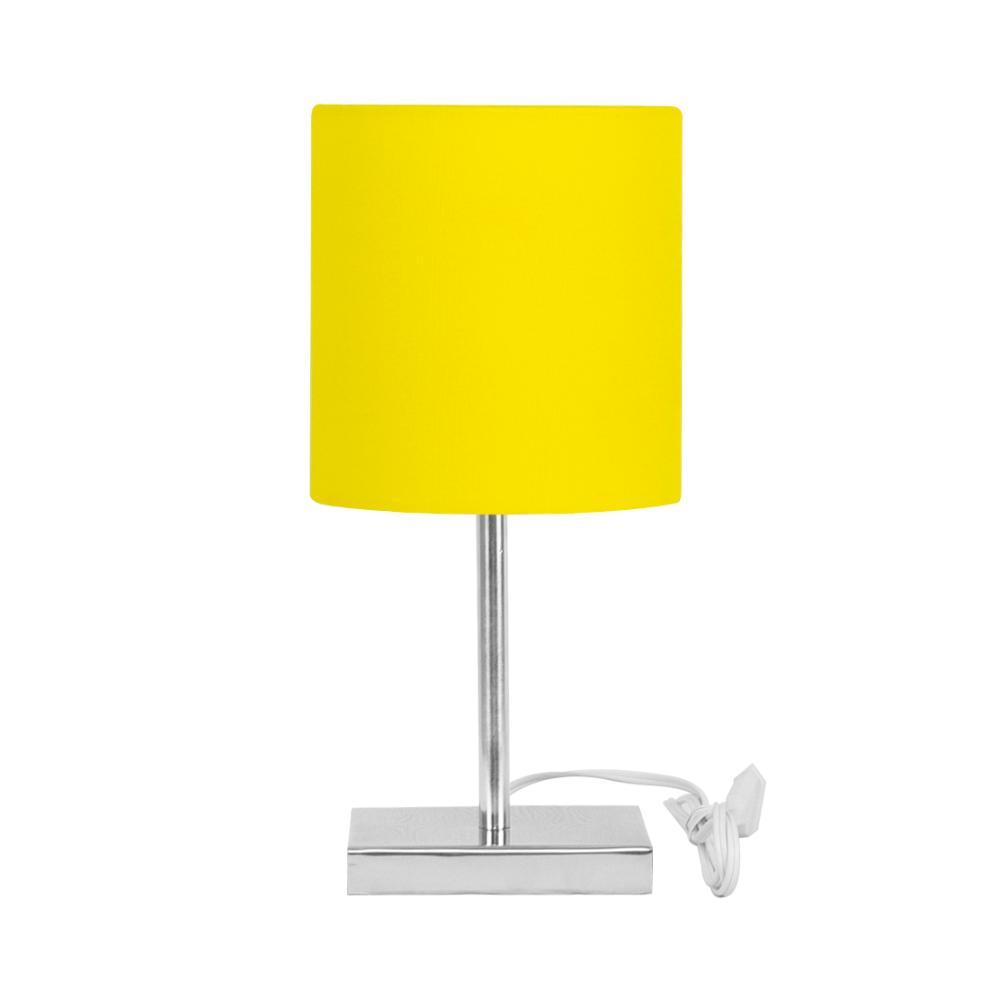Abajur Eros Touch Cilindrico Amarelo C/ Base Quadrada Inox