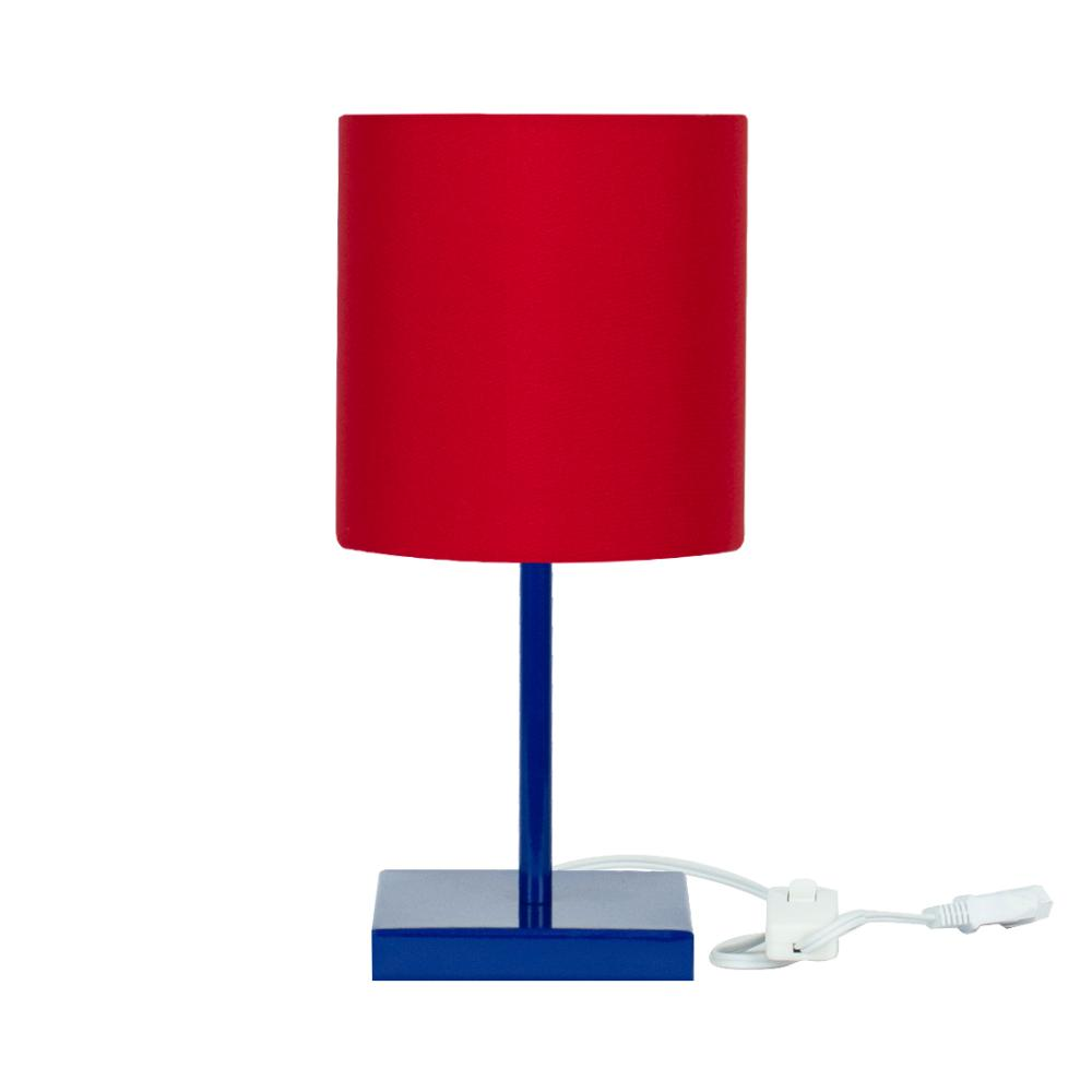 Abajur Eros Cilindrico Vermelho Base Toda Azul Quadrada