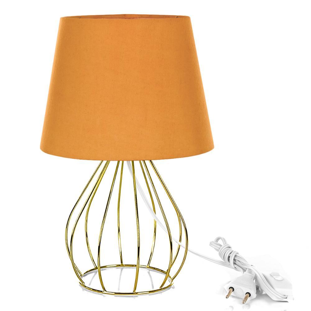 Abajur Cebola Dome Laranja Com Aramado Dourado