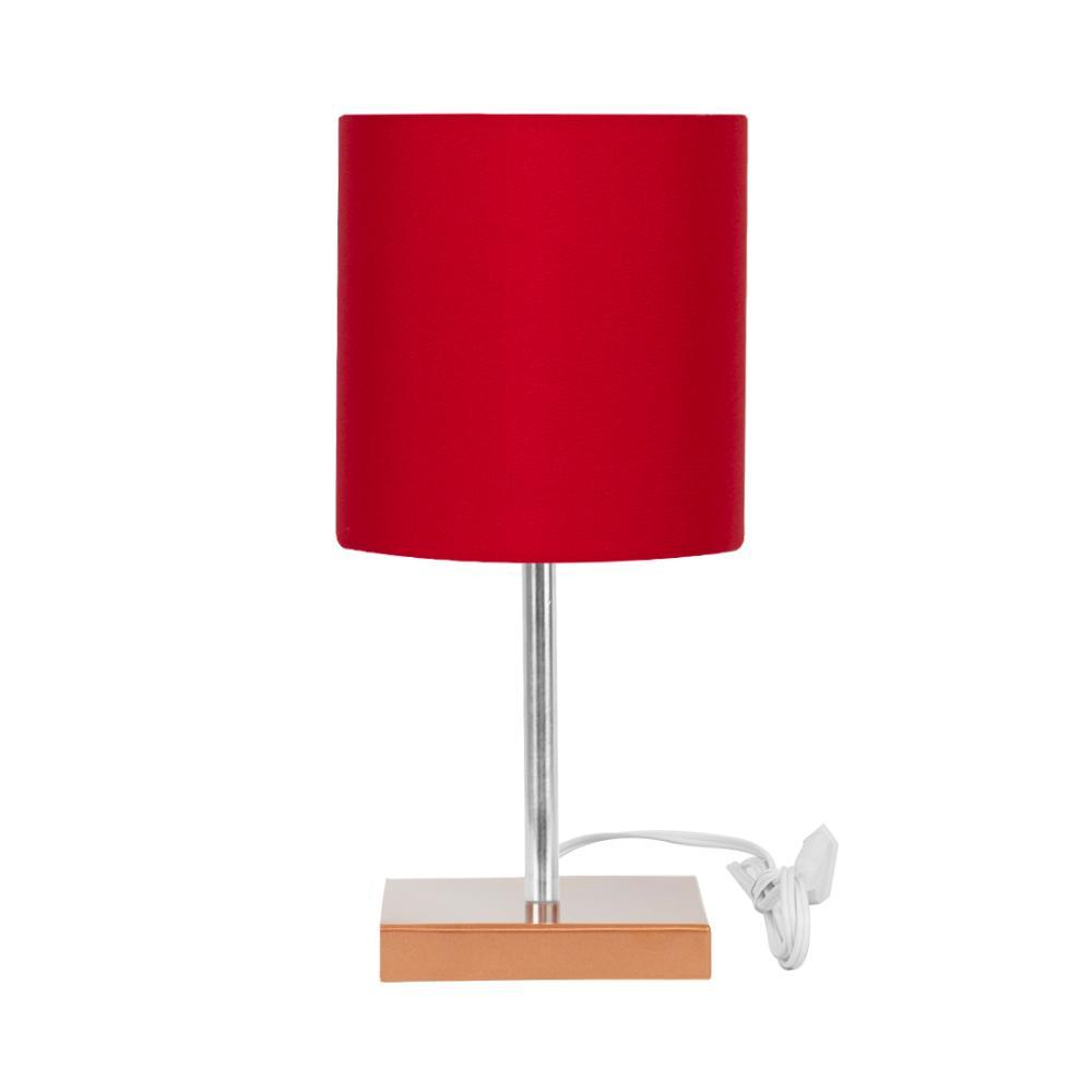 Abajur Eros Touch Cilindrico Vermelho Base Cobre Quadrada