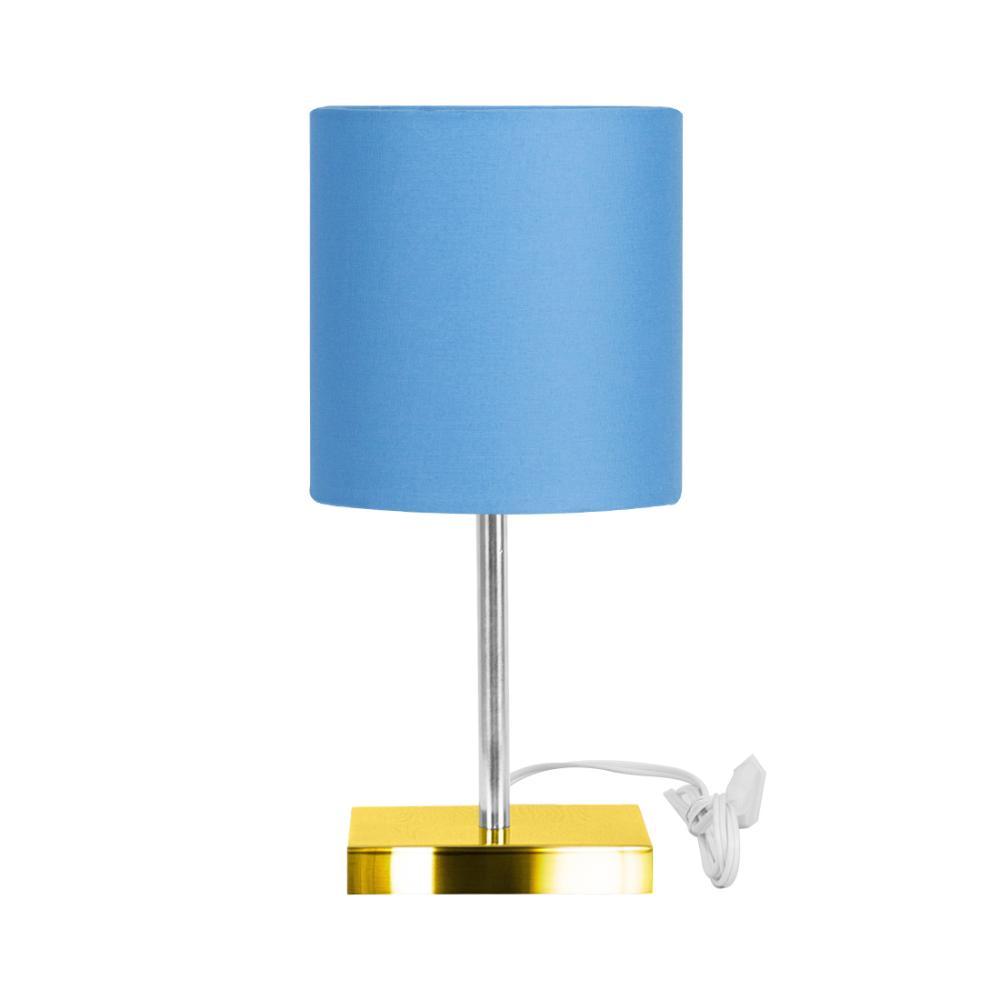 Abajur Eros Touch Cilindrico Azul Base Todo Dourado Quad.