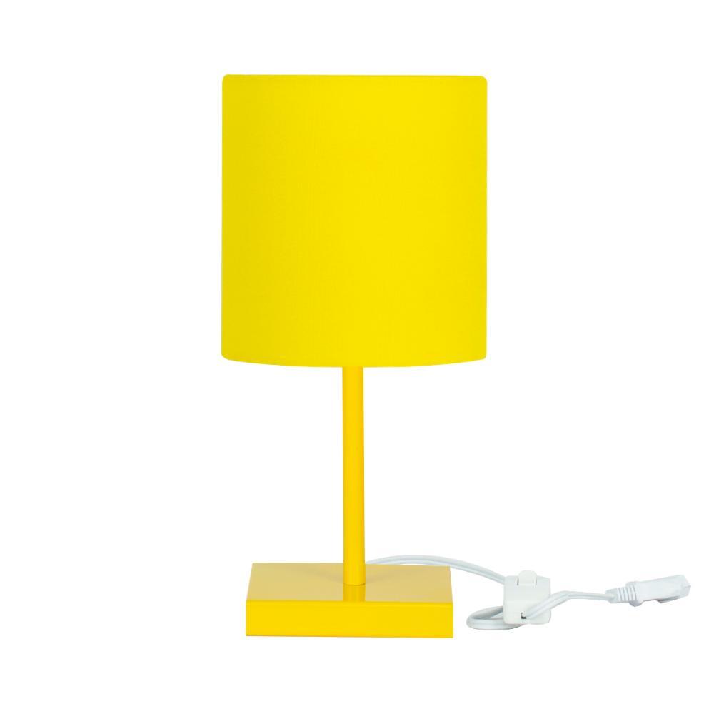 Abajur Eros Cilindrico Amarelo Base Toda Amarela Quadrada