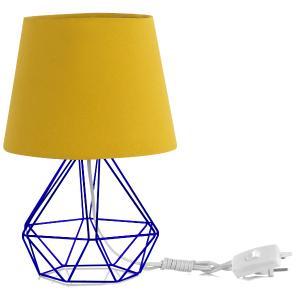 Abajur Diamante Dome Amarelo Mostarda Com Aramado Azul