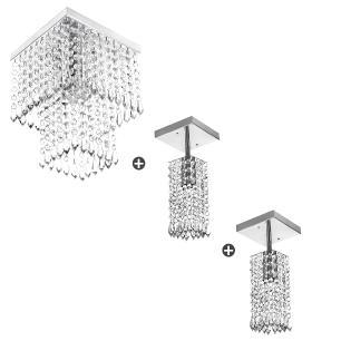 Kit 2 Lustres Clearcrillic Quadrado + Marrycrilic Oferta